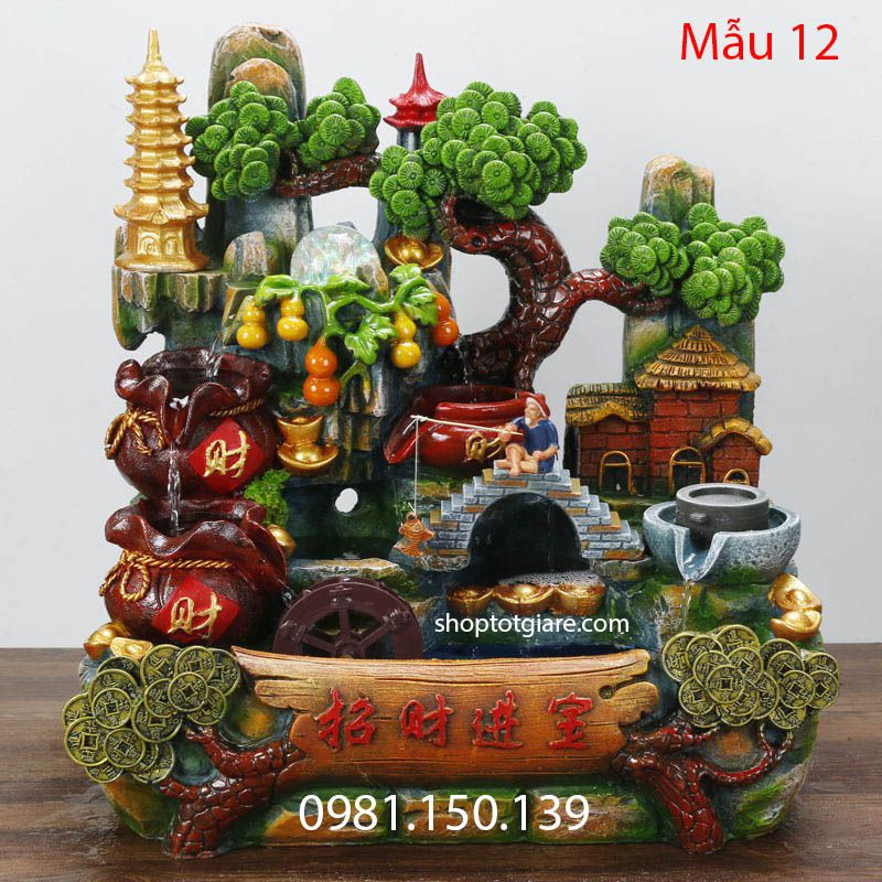 tieu canh thac nuoc phong thuy mau 12